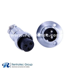 Circular Connector Panel Mount 3 Pin Flange Mount GX20 Male Female Straight Plug and Socket