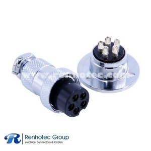 Waterproof Male Female Connector IP55 GX20-5 Circular Flange Mount Straight Plug and Socket