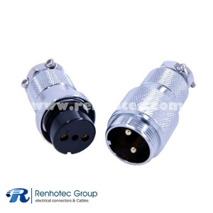 Circular Metal Shell Connectors GX25-2 pin Butt Joint Male and Female Straight Plug