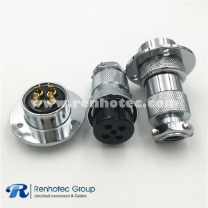 GX25 Aviation Plug Socket Connector 4P 3 Hole Flange Straight Male and Female Electrical Connector
