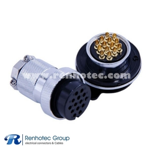 Round Metal 3 Hole Flange 14 Pin Connector GX30 Straight Male Female Plug and Socket
