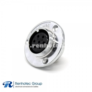 Reverse Socket GX30 7 Pin Female Straigh 3 Hole Flange Mounting Solder Cup for Cable