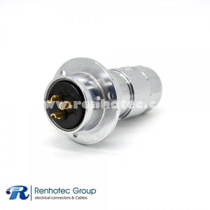 Socket Female GX30 4 Pin Straigh Reverse Flange Mounting Solder Cup for Cable 3 Hole Flange