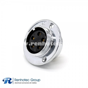 5 Pin Female Connector GX35 Straight Reveser Connector 3 Holes Flange Panel Receptacles
