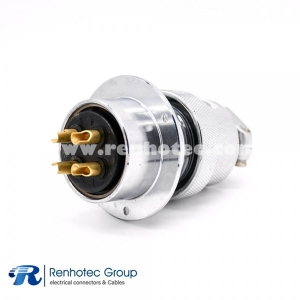 GX40 Straight 4 Pin Reverse Male Cable Plug Female Panel Receptacles Circular Round Flange