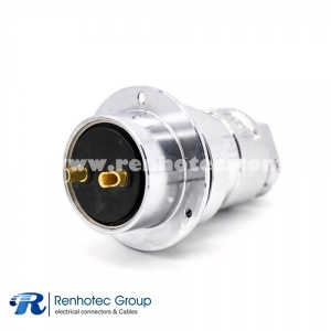 2 Pin Aviation Connector GX40 Straight Female Cable Plug Male Panel Receptacles 3 Holes Flange