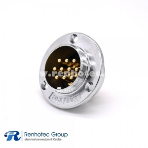 10 Pin Panel mount Connector GX48 3 Holes Cricular Round Flange Female Panel Receptacles