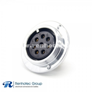 8 Pin Aviation Connector GX48 Reverse Female Panel Receptacles Circular 3 Hole Flange