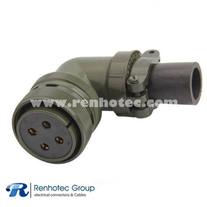 MS3108A24-22S MIL-DTL-5015 Series Right Angle Plug 4 Contacts Solder Socket Circular Connector