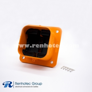 MSD Socket 2Pin Front Mount 630A  IP67 Orange for Electrical Vehicle Car Connector