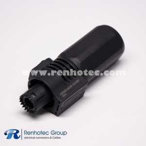 Battery Storage Connector Plug Straight 1Pin 60A-200A Crimp 6mm 8mm Contact Contact IP67 Black