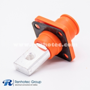 Straight Battery Storage Connector Socket 1Pin Crimp 6/8/12mm Busbar Lug Nonwaterproof Orange