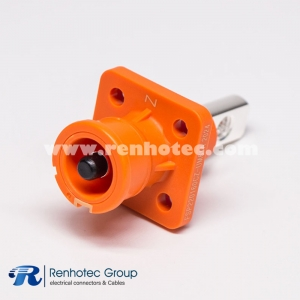 Battery Storage Connector Socket  Straight 1Pin  Crimp 6mm/8mm Contact Busbar Lug IP67 Orange