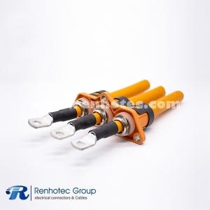 3 POS Pass-Through Connector RPT  Plastic Shell 180° Panel 125A 150A 200A Crimp 25/35/50mm² Cable
