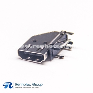 Angled HDMI Connector Female Type for PCB Application